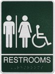 Cast Standard ADA Coed Wheelchair Accessible Restroom Sign Cast ADA Plaques