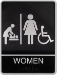 Cast Standard ADA Women's Restroom/Changing Station Sign Cast ADA Plaques