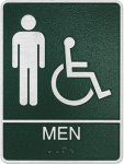 Cast Standard ADA Men's Wheelchair Accessible Restroom Sign Cast ADA Plaques