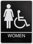 Cast Standard ADA Women's Wheelchair Accessible Restroom Sign Cast ADA Plaques