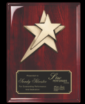 Rosewood Piano Finish plaque w/ star casting Piano Finish Plaques