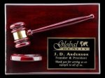 R1070 - Rosewood High Polish Finish Gavel / Block Plaque Retirement and Service Awards
