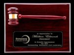 R1071 - Rosewood High Polish Finish Gavel Plaque Retirement and Service Awards