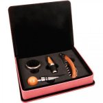 Leatherette 4 Piece Wine Tool Set -Pink Wine Gifts
